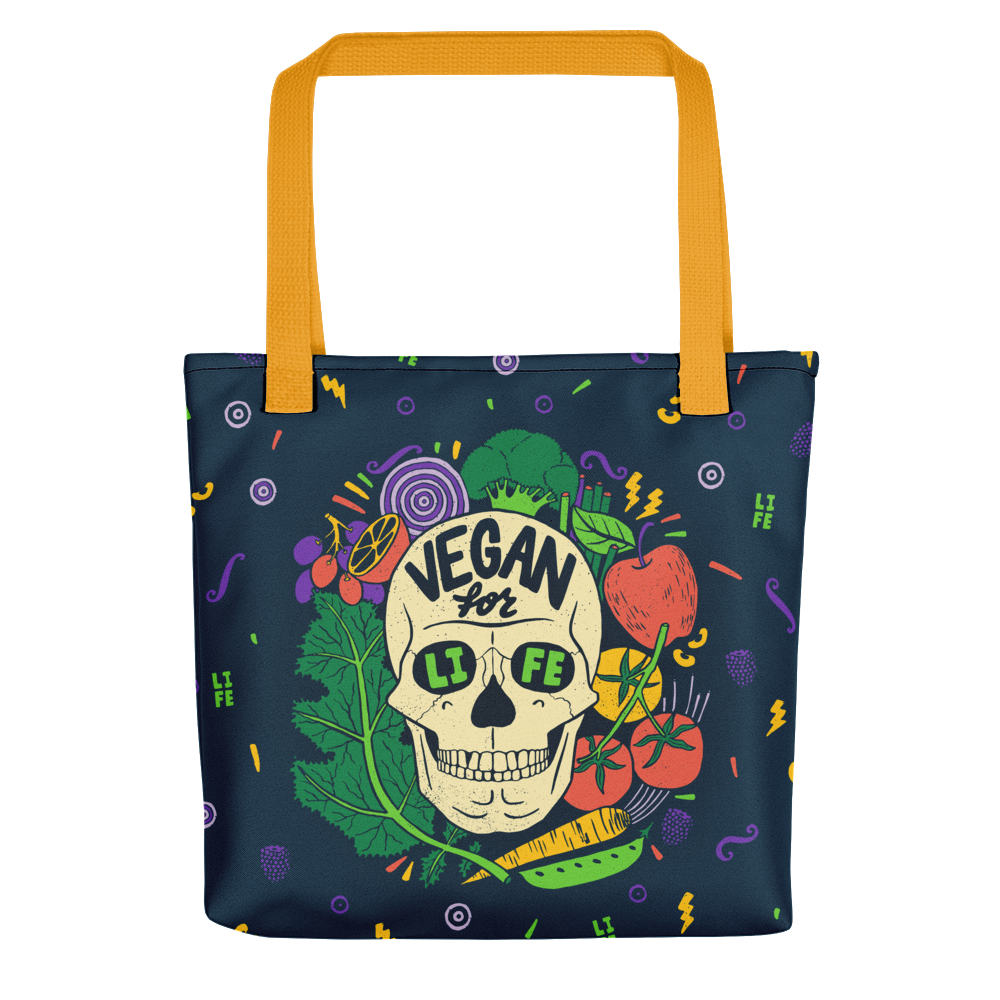 Vegan Bag - Vegan Tote Bag - Vegan for Life Skull
