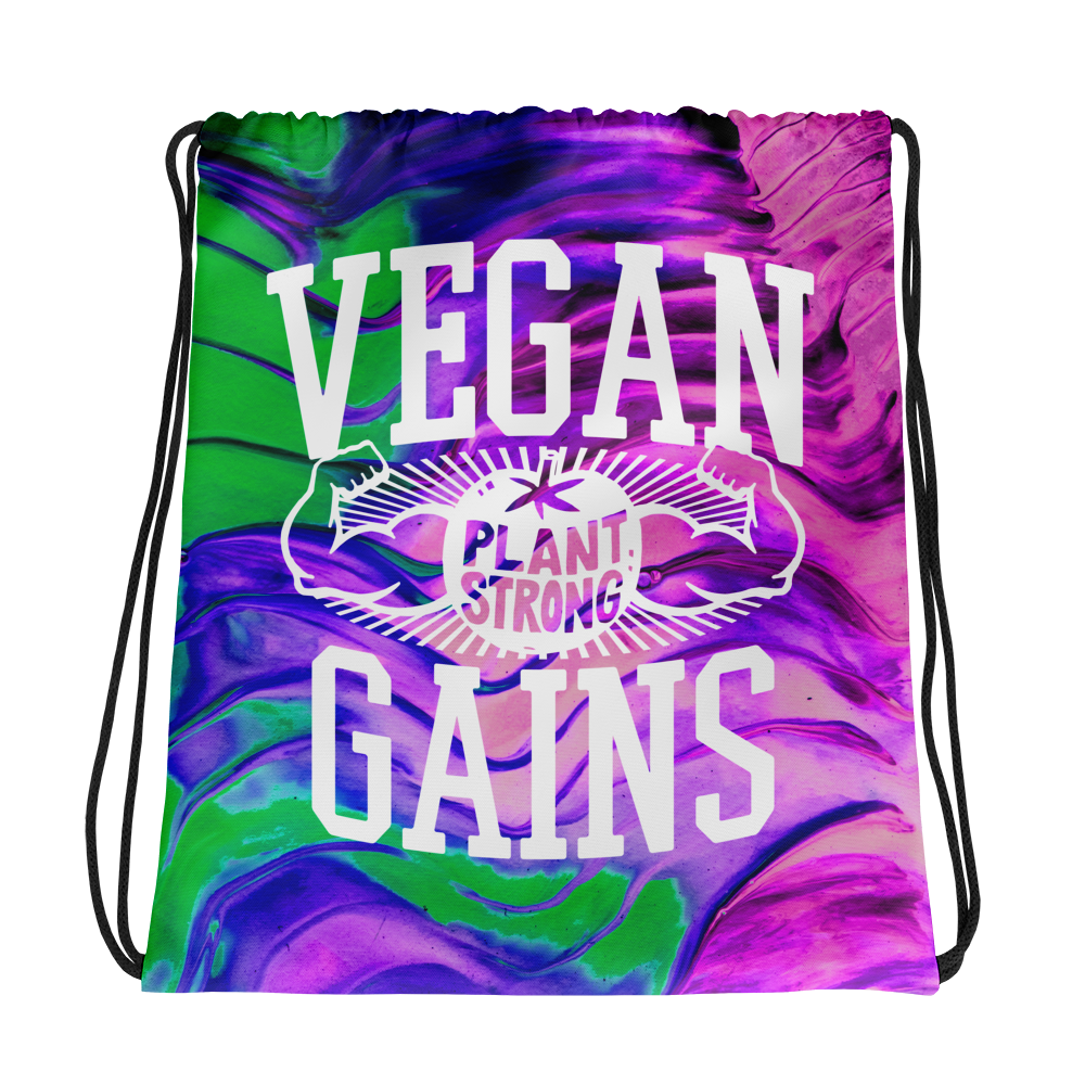Vegan Bag - Vegan Drawstring Bag - Vegan Gains - front