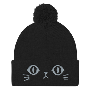Vegan Beanie Hat - Cat Face Hat - Black