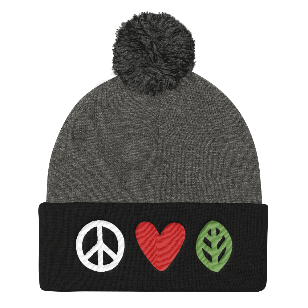 Vegan Beanie Hat - Love Peace Vegan Hat - Grey and Black