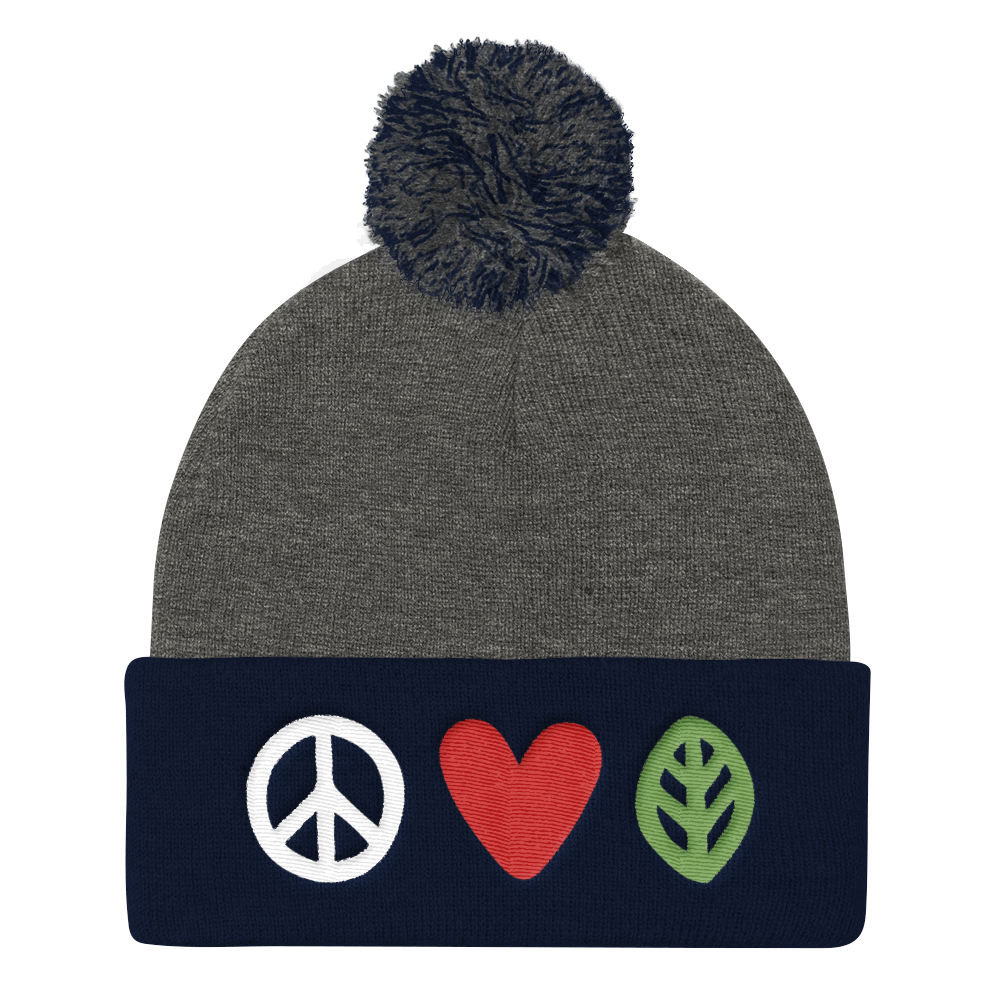 Vegan Beanie Hat - Love Peace Vegan Hat - Grey and Navy
