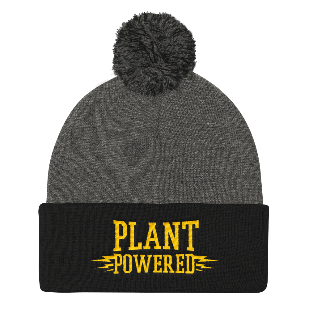 Vegan Beanie Hat - Plant Powered Hat - Grey and Black