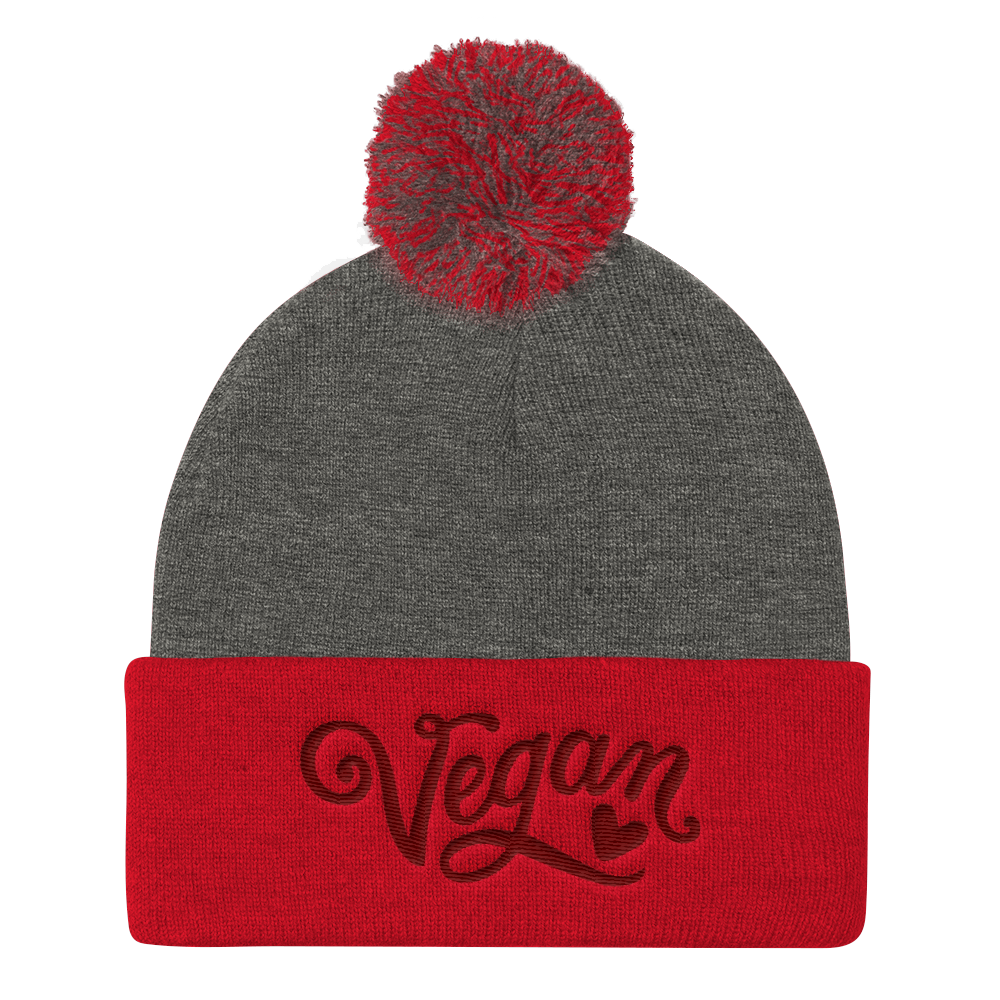 Vegan Beanie Hat - Vegan Heart Hat - Grey and Red