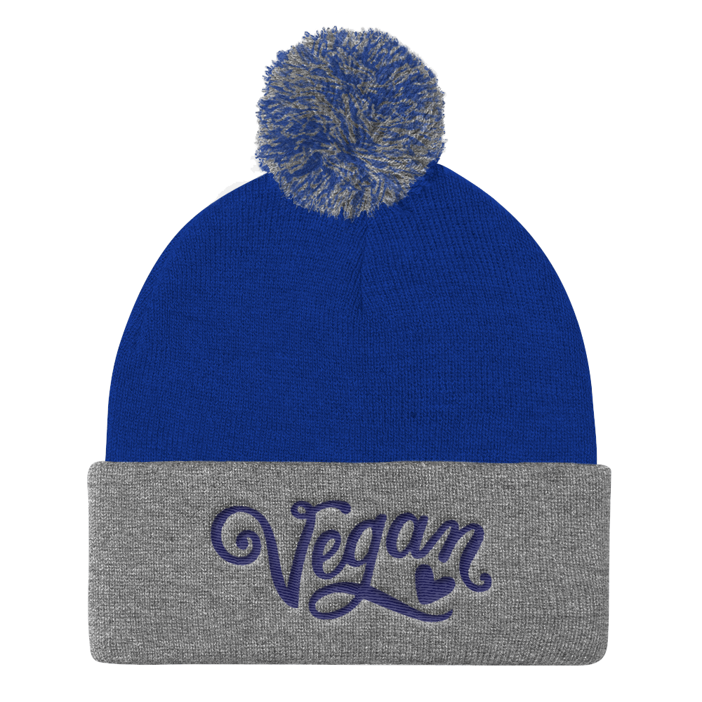 Vegan Beanie Hat - Vegan Heart Hat - Royal Blue and Grey