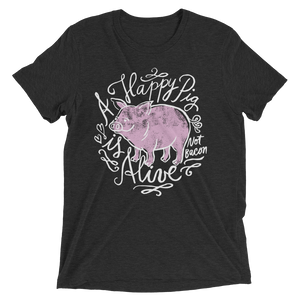 Vegan Shirt - A Happy Pig is Alive - Charcoal Black Vegan Shirt