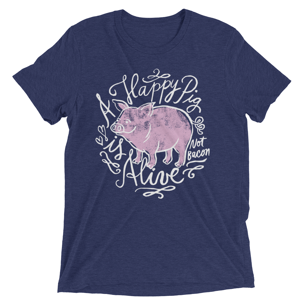 Vegan T-Shirt - A Happy Pig is Alive - Navy