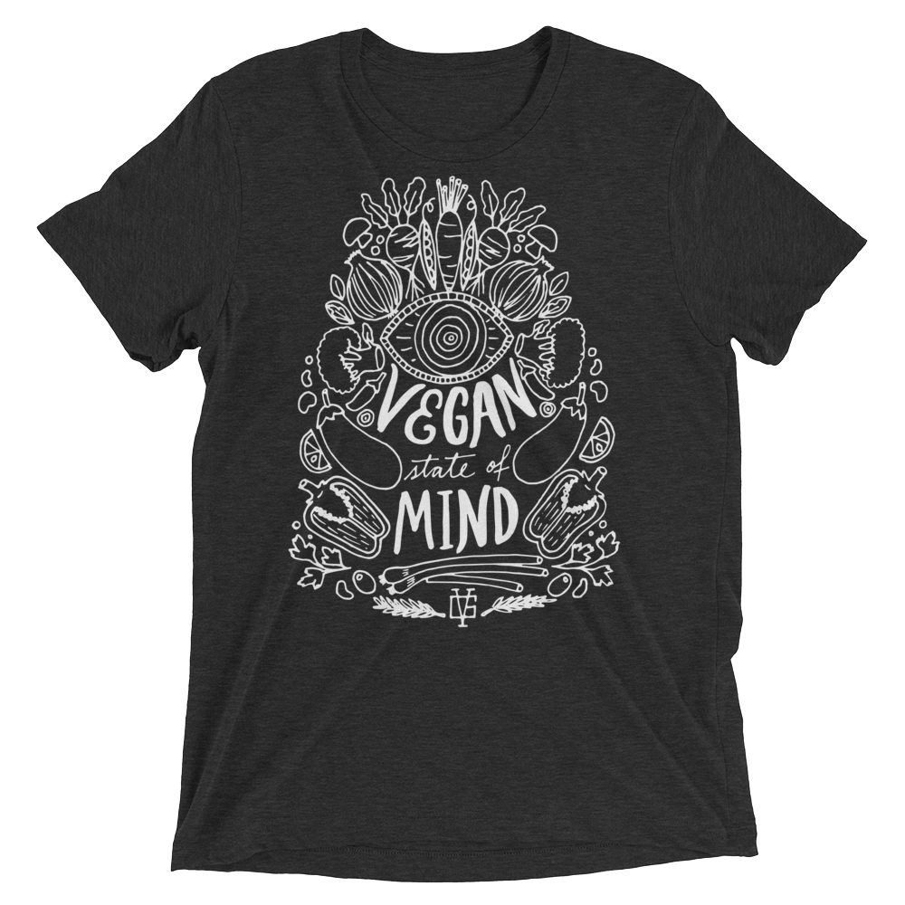 Vegan T-Shirt - Vegan State Of Mind - Charcoal Black