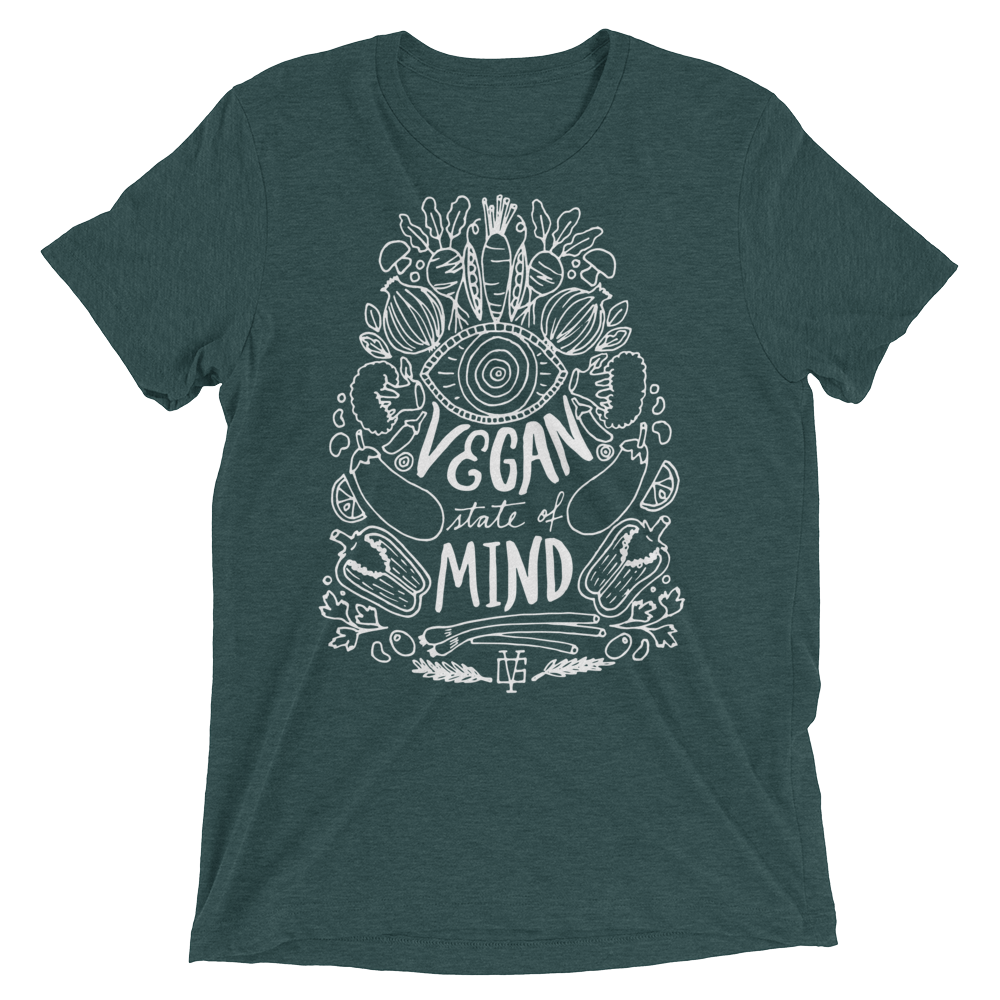 Vegan T-Shirt - Vegan State Of Mind - Emerald