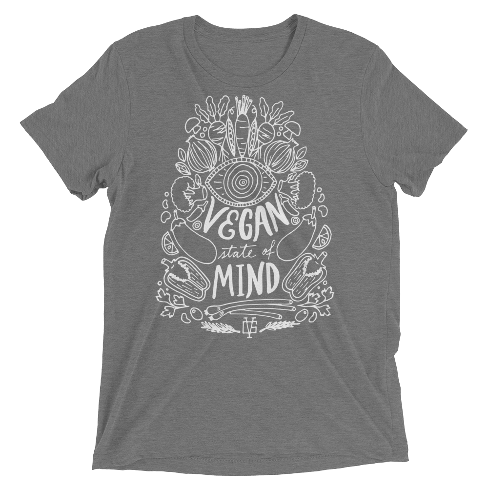 Vegan T-Shirt - Vegan State Of Mind - Grey