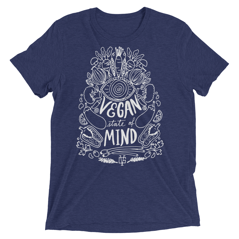 Vegan T-Shirt - Vegan State Of Mind - Navy