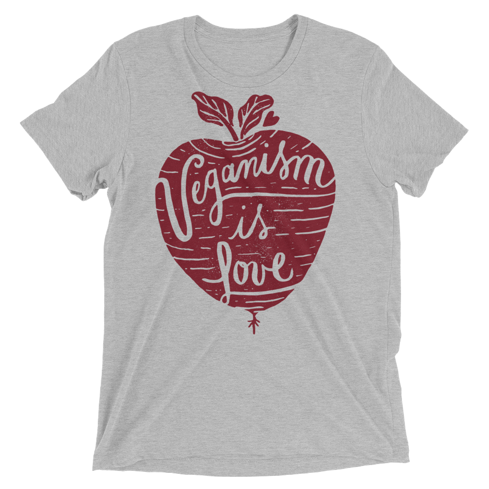 Vegan T-Shirt - Veganism is Love - Athletic Grey