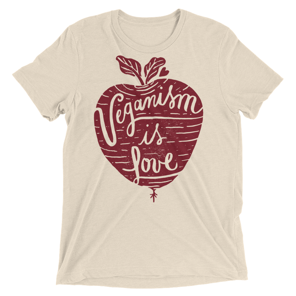 Vegan T-Shirt - Veganism is Love - Oatmeal