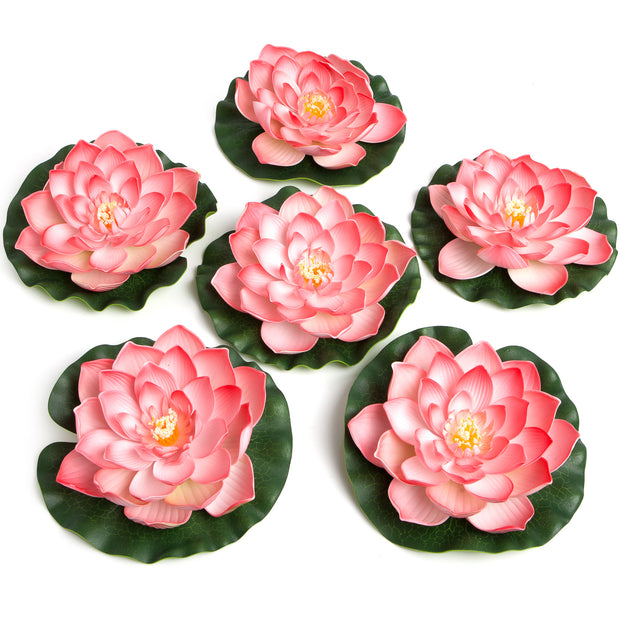 BEST FLOATING FLOWERS SET of 6 for Weddings - Water Features - Large - 8 1/2 Inch Each (Coral)