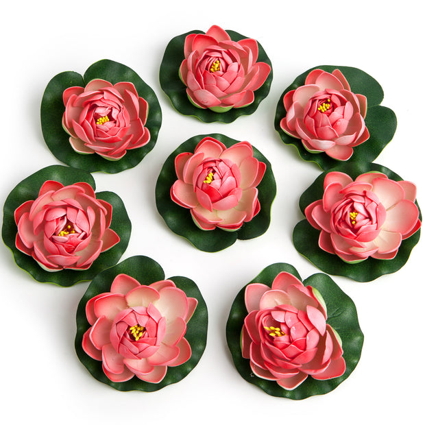 BEST FLOATING FLOWERS SET of 6 for Weddings - Water Features - Large - 4 1/2 Inch Each (Coral)