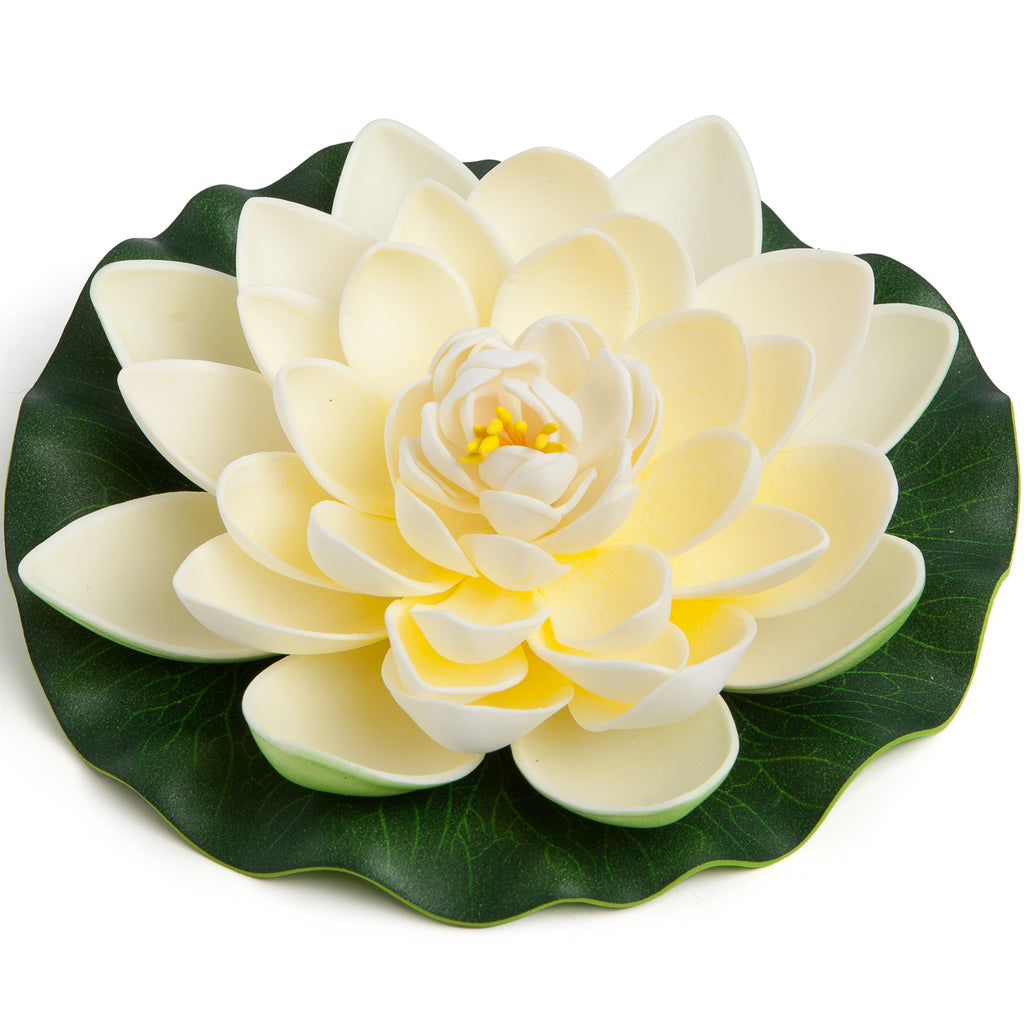 BEST FLOATING FLOWERS SET of 6 for Weddings - Water Features - Large - 6 1/2 Inch Each (White)
