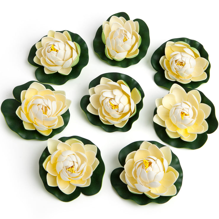 BEST FLOATING FLOWERS SET of 6 for Weddings - 4 1/2 Inch Each (White)