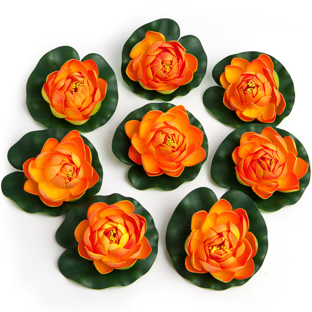 BEST FLOATING FLOWERS SET of 6 for Weddings - Water Features - Large - 4 1/2 Inch Each (Orange)