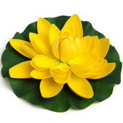 BEST FLOATING FLOWERS SET of 4 for Weddings - Water features Extra Large - 11 Inch Each (Yellow)