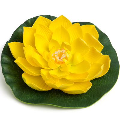 BEST FLOATING FLOWERS SET of 6 for Weddings - Water Features - Large - 8 1/2 Inch Each Yellow)