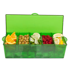 Condiment Server Christmas Green with 5 Removable Compartments and Lid