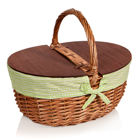 Best Picnic Basket Wicker with Lid and Handle - Big Extra Large - Includes Green Gingham Liner