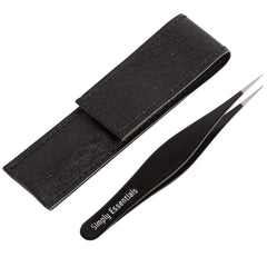 Tweezers for Ingrown Hair with Case  Black Stainless Steel