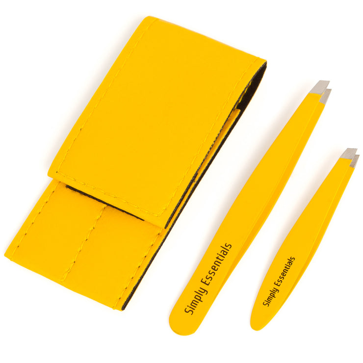 TWEEZERS SLANT SET - Premium Yellow Tweezers with Mini Includes Case