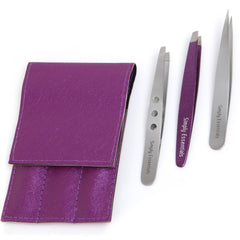 Professional Stainless Steel Tweezers Set - With Pointed, Silver Slanted and Purple Slant Designs Includes Case