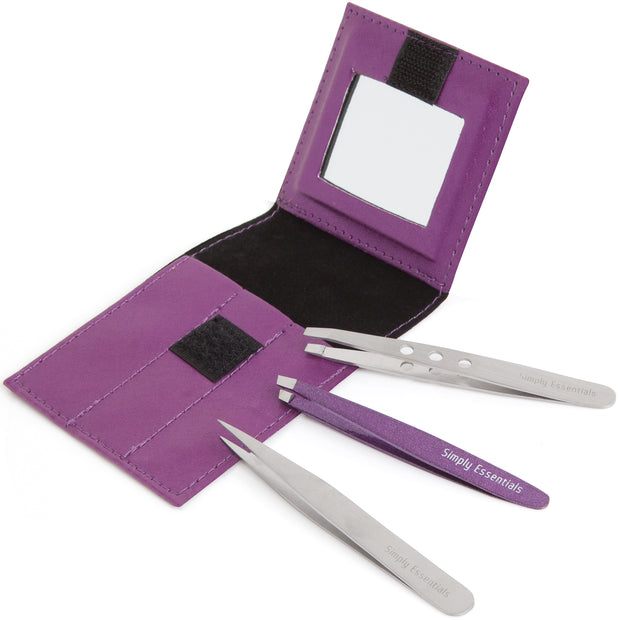 Tweezers Sparkles Set of Three with Purple Case
