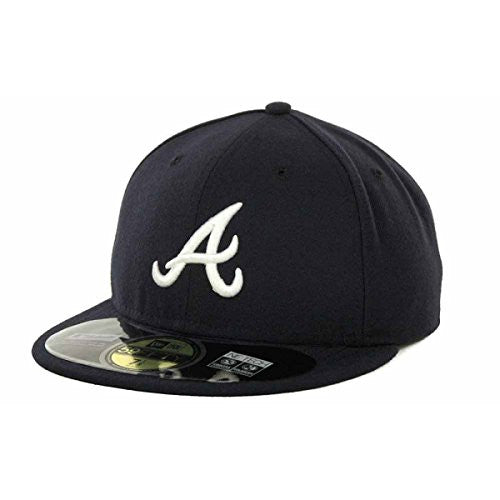Atlanta Braves Official On Field 59Fifty ROAD Fitted Cap by New Era (Navy-White)
