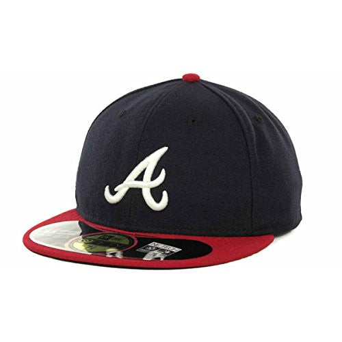 Atlanta Braves Official On Field 59Fifty HOME Fitted Cap by New Era (Navy-Red)