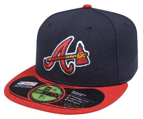 Atlanta Braves Official On Field 59Fifty ALTERNATE Fitted Cap by New Era (Navy-Red)