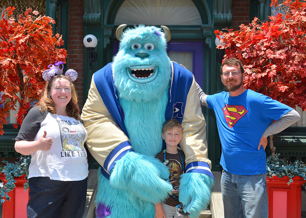 The Stanchfield Family with Monsters Inc. Character, Sully