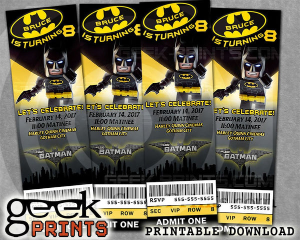 Batman Movie Ticket Stub Birthday Invitation