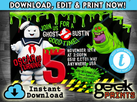 Marshmallow Man Invitation inspired by Ghostbusters Printable