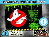 Ghostbustin' Thank You Card inspired by Ghost-Busters Printable