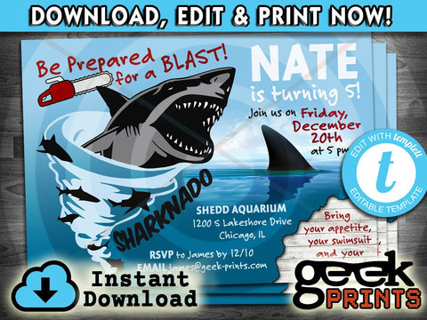 Sharknado Movie Theme Birthday Photo Invitation Custom Printable
