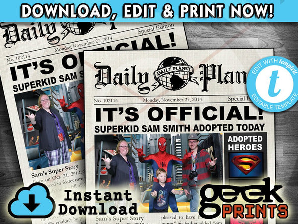 Adopted Super Hero Newspaper Printable Invitation