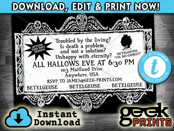 Party Invitation Inspired by Beetlejuice Custom Printable Templett