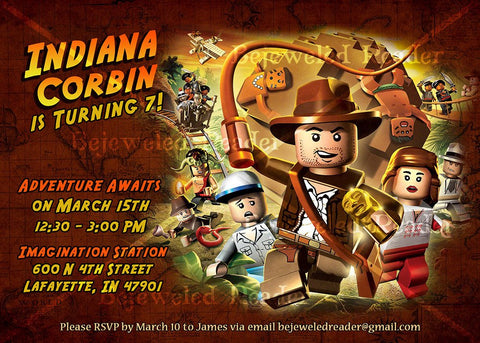 Indiana Jones Birthday Invitation Custom Printable