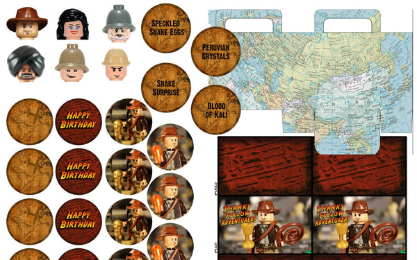 Indiana Jones Brick Birthday Printable Party Kit
