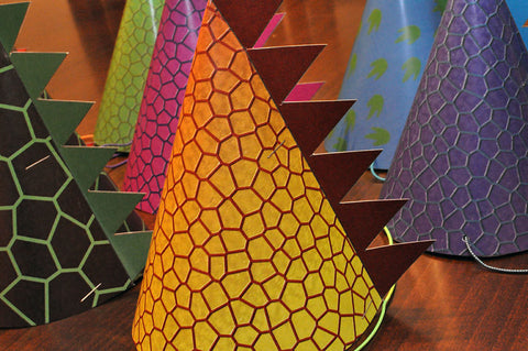Dinosaur Party Hats with Scales - Printable