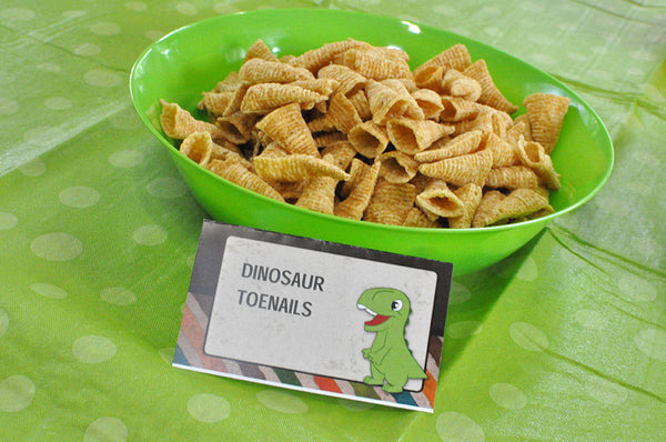 Dinosaur Party Menu Tent Cards Editable Text Printable