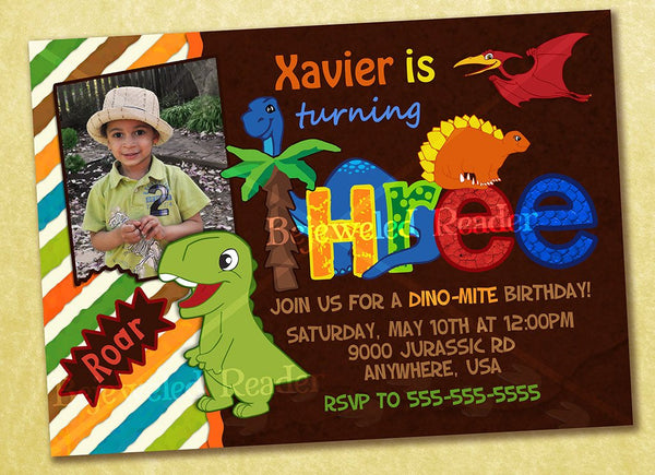 Adorable Dinosaur Birthday Invitation Custom Printable