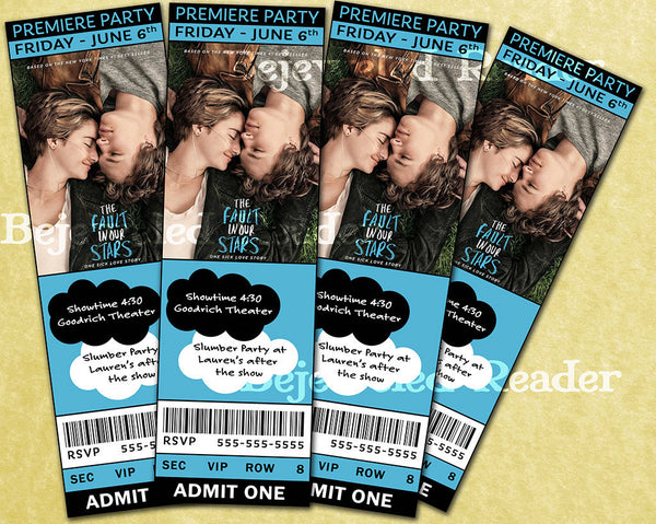 Fault in Our Stars Movie Birthday Party Invitation Custom