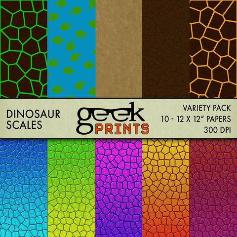 Dinosaur Scales Digital Scrapbook Paper Pack