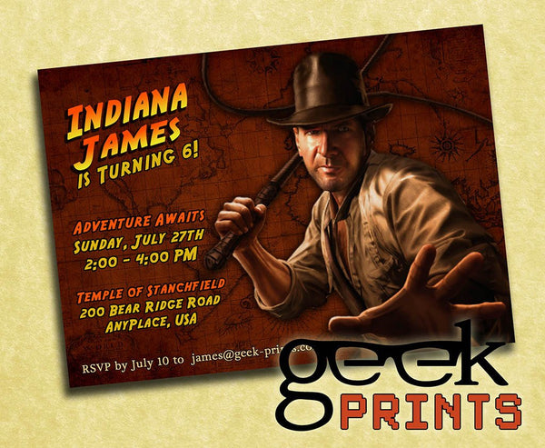 Indiana Jones Movie Theme Birthday Invitation Custom Printable