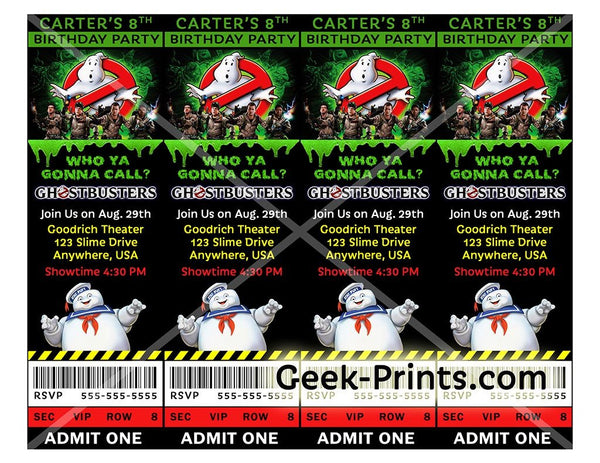 Ghostbusters Movie Birthday Party Invitation