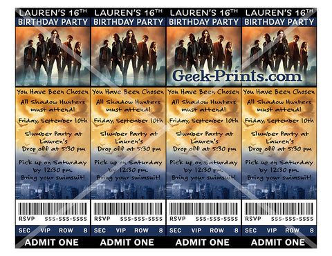 Mortal Instruments Movie Birthday Viewing Party Invitation Custom
