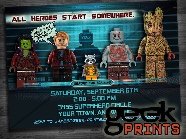 Birthday Invitation Inspired by Guardians of the Galaxy Custom Printable